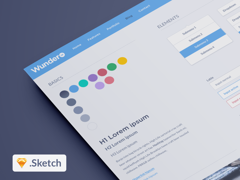 Wunder UI Kit - Sketch App Freebie