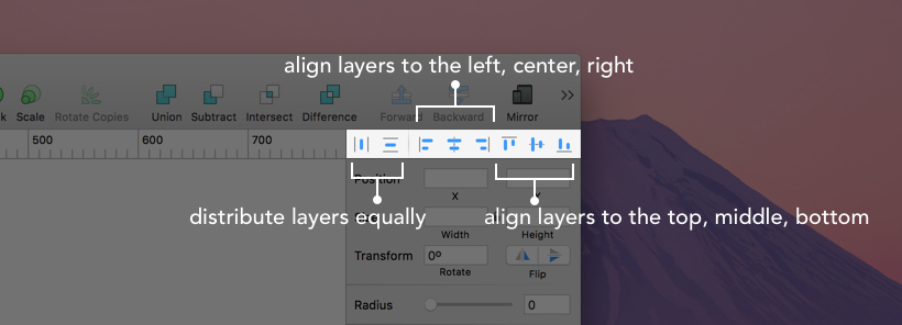Distribute and Align Layers in the Inspector