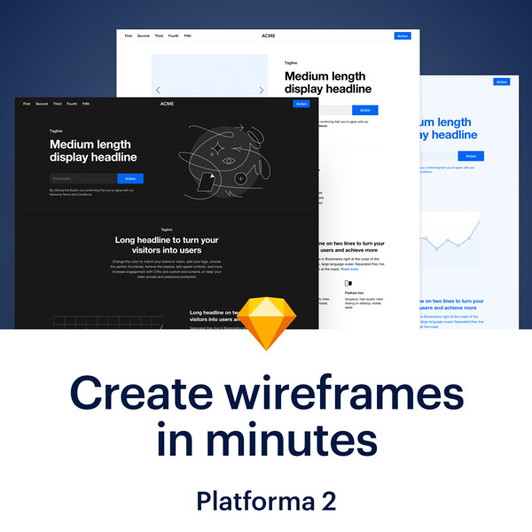 Platforma 2 - Website Wireframe Kit for Sketch