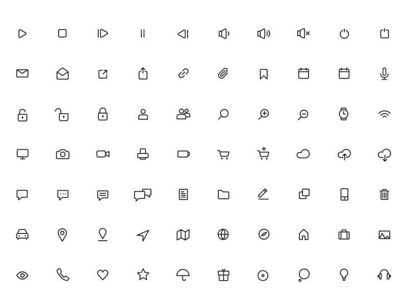 100 Minimal Rounded Icons