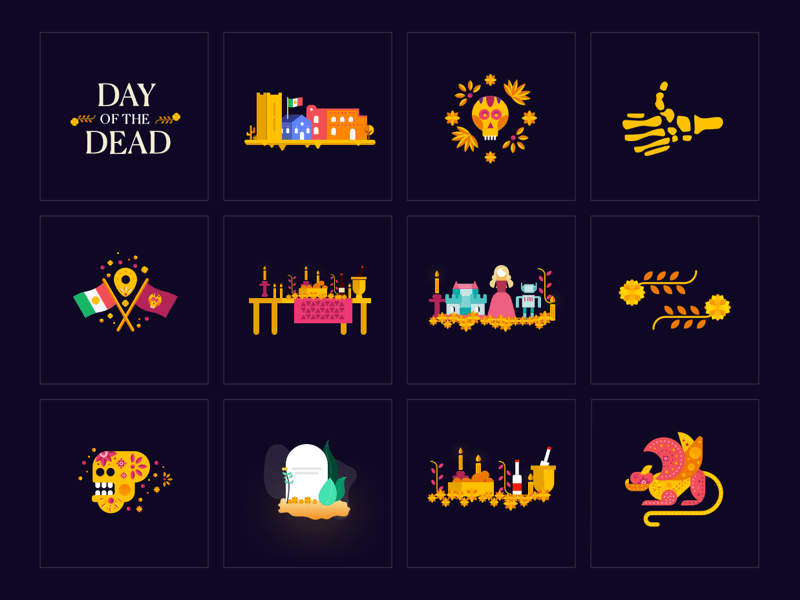 12 Illustrations for Day of the Dead