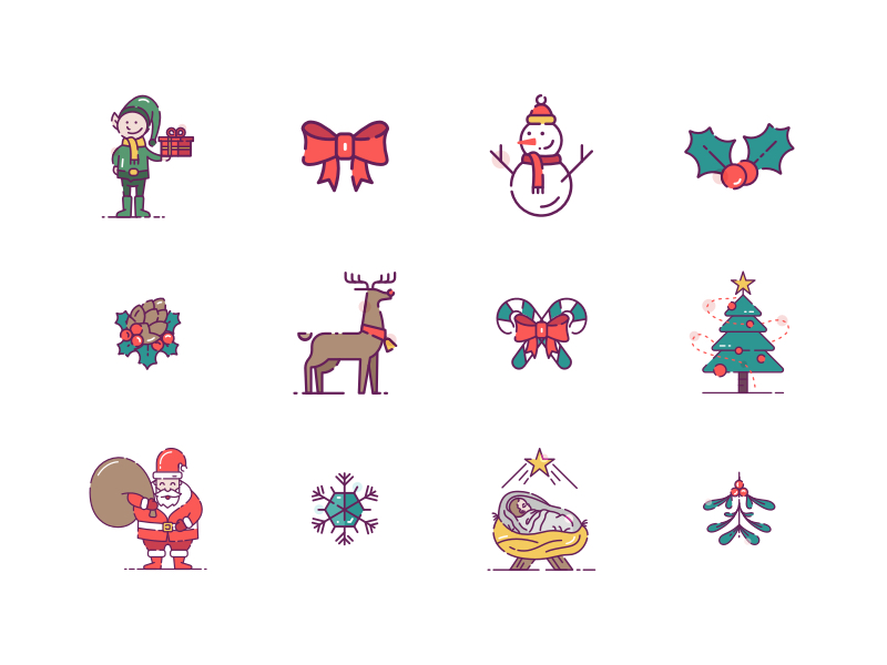 36 Christmas Icons Sketch Freebie Download Free Resource