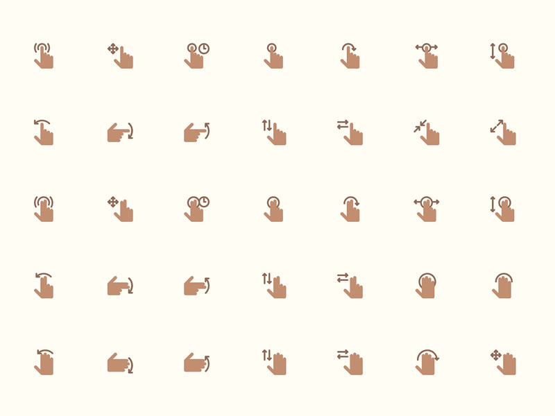 40 Hand Gesture Icons