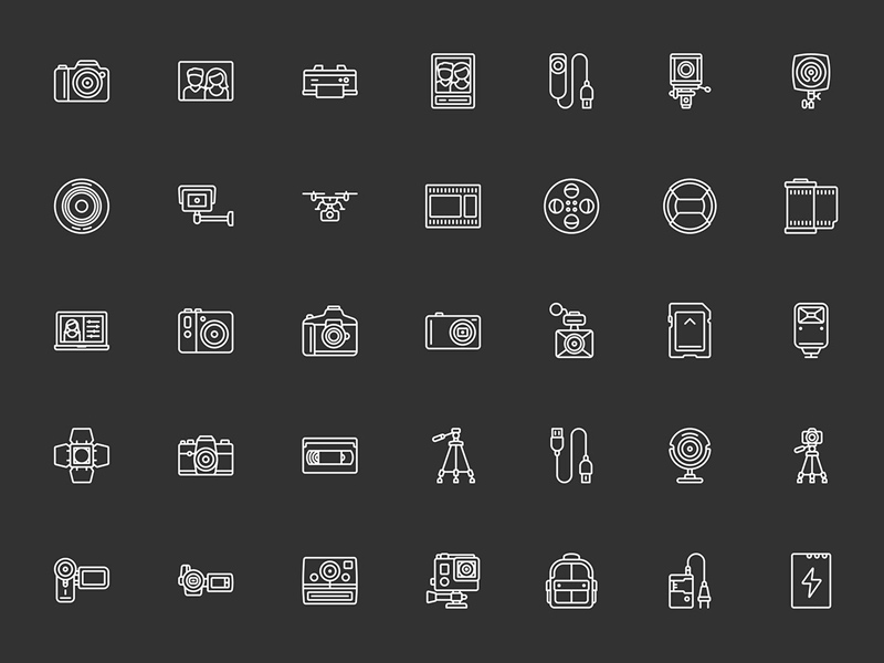 50 Camera and Video Icons Sketch freebie - Download free resource