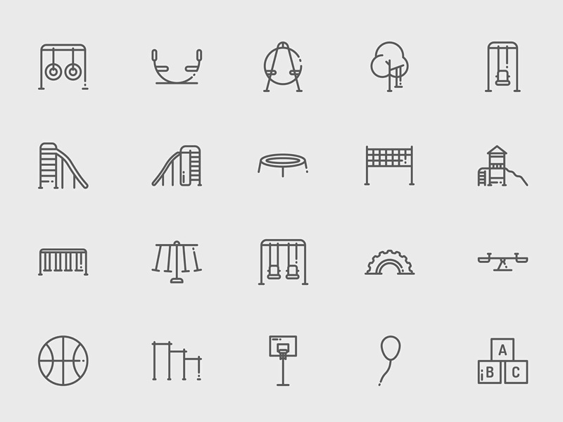 playground and games icons sketch freebie - download free resource for sketch