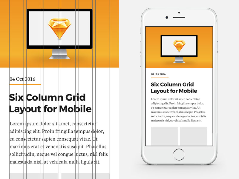 6 Column Grid for iPhone 6 and 7