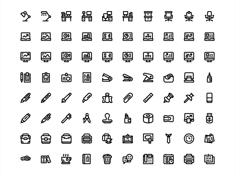 80 office icons sketch freebie