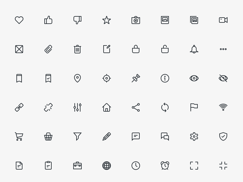 80 UI Outlined Icons