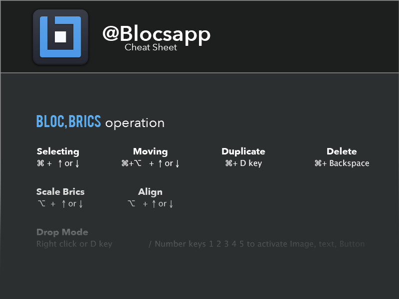 Blocsapp Cheat Sheet