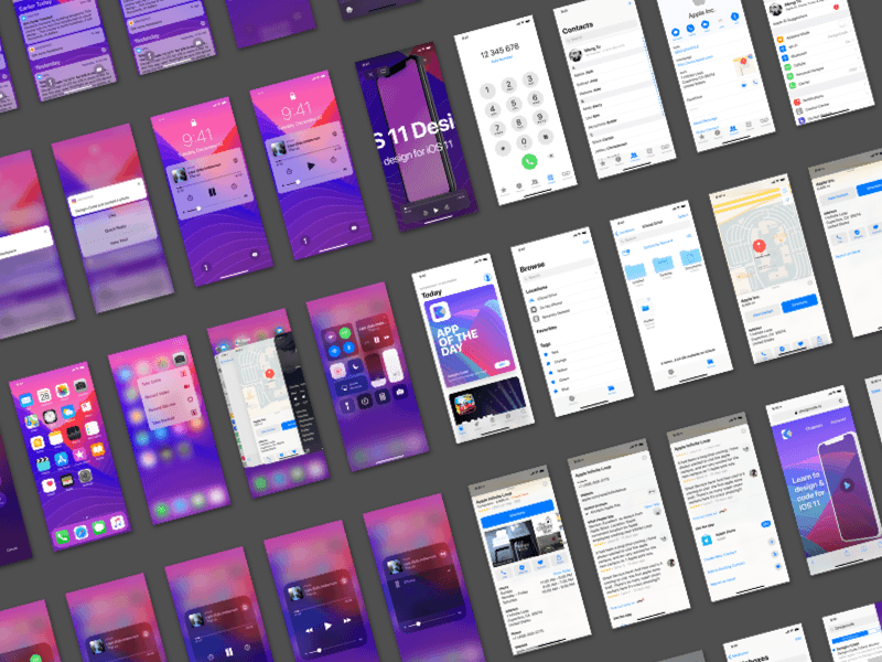 iOS 11 UI Kit for iPhone X Sketch freebie - Download free