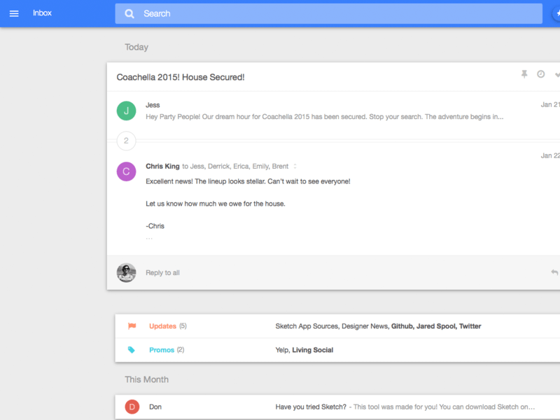 Google Inbox Material Design Sketch Freebie Download