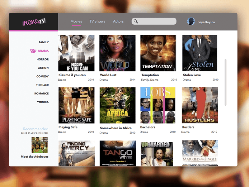 Concept design for Iroko TV