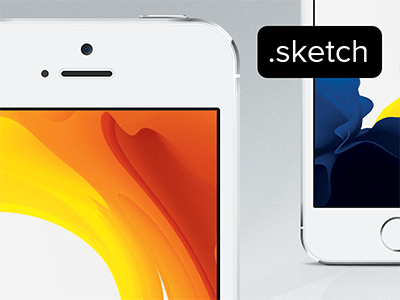White iPhone 5S Sketch Vector Mockup