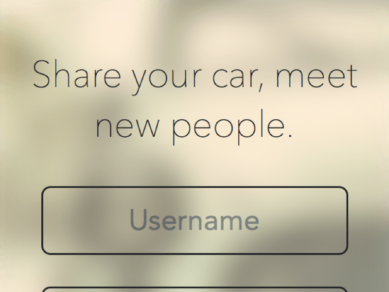Login view for a car app
