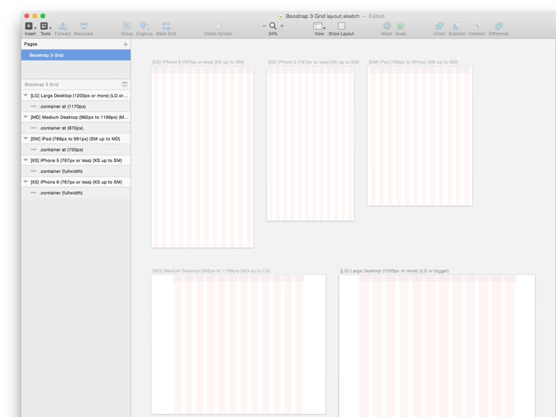 Bootstrap Grid Template Sketch freebie - Download free