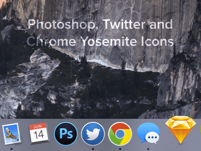 Photoshop Twitter and Chrome icons for Yosemite