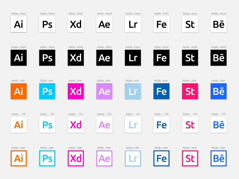 Adobe Product Icons in Sketch Sketch freebie - Download free