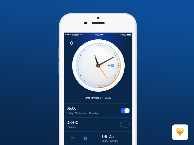Alarm Clock App Sketch freebie
