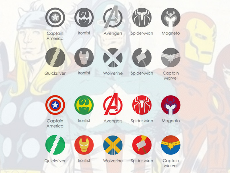 Marvel Icons - Captain America, Iron Fist, Avengers, Spider-man