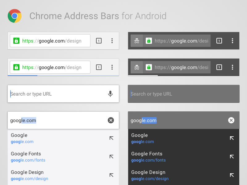 Android Chrome Address Bars