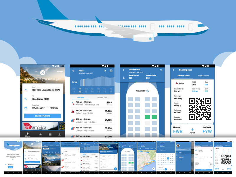 Material Design Flight App Sketch freebie - Download free resource