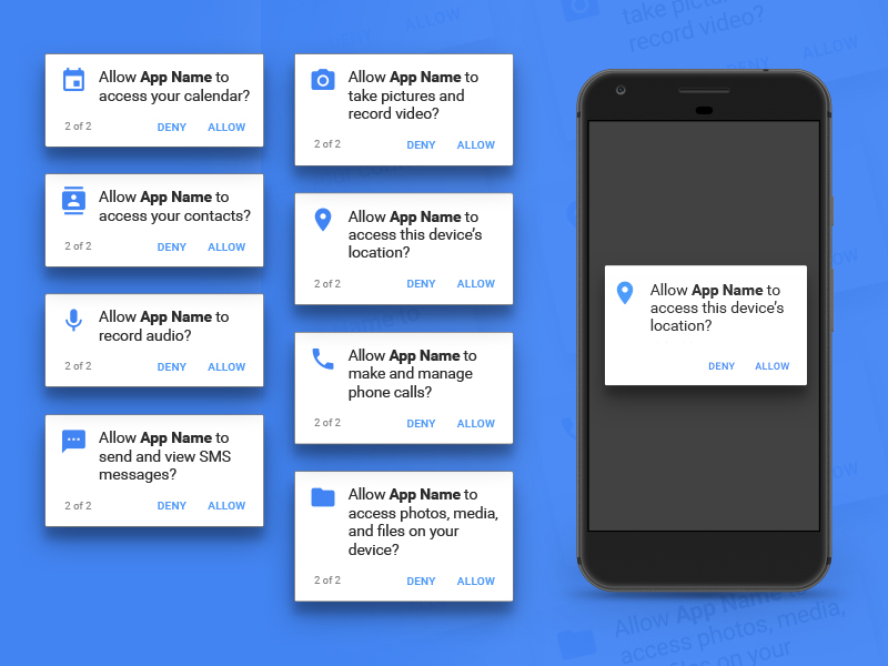 Android Permissions Dialogs Sketch freebie - Download free