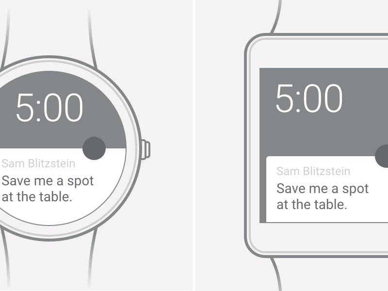 Android Wear Wireframe