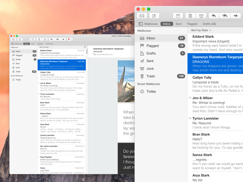 Apple Mail UI