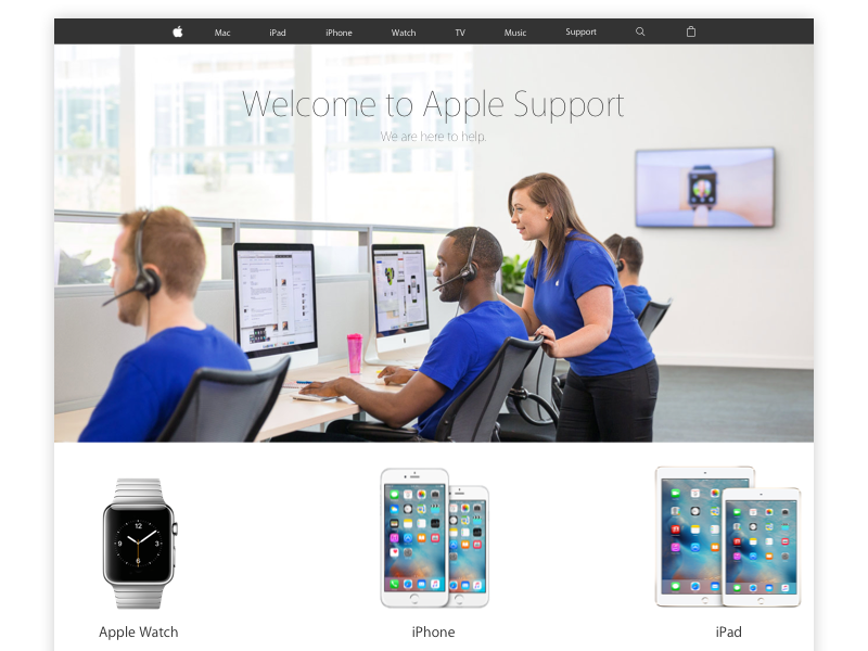 Apple Support Page Layout