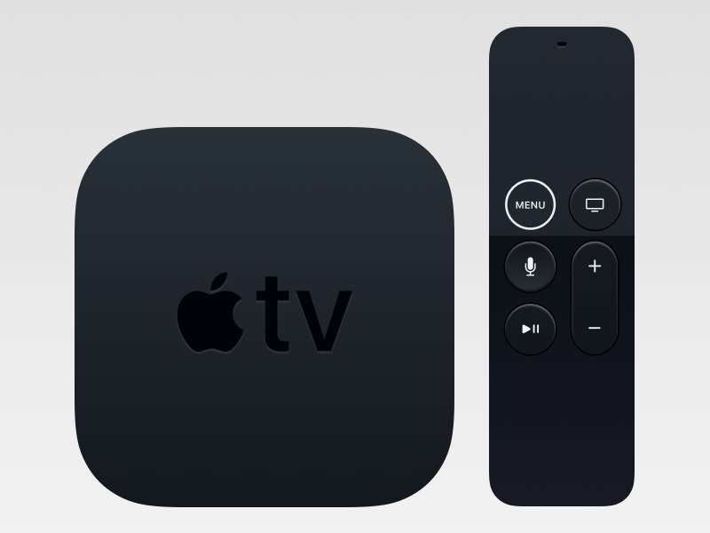 Apple TV and Remote Mockup