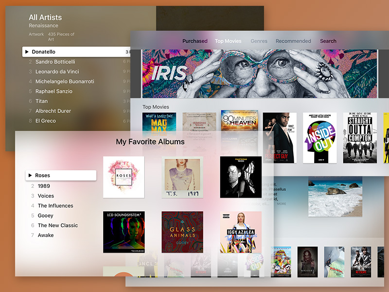 tvOS (Apple TV) UI Kit Sketch freebie - Download free resource for