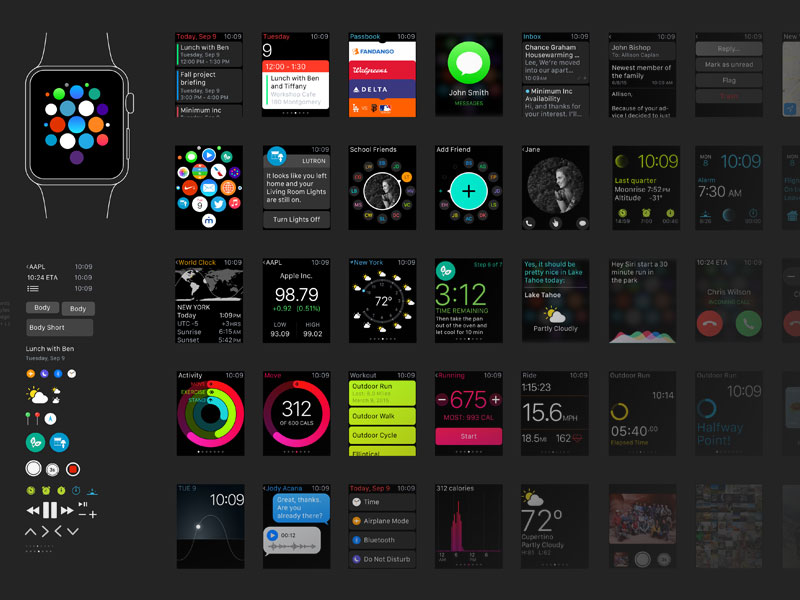 Apple Watch Ui Kit Android Wear Moto 360 Template And