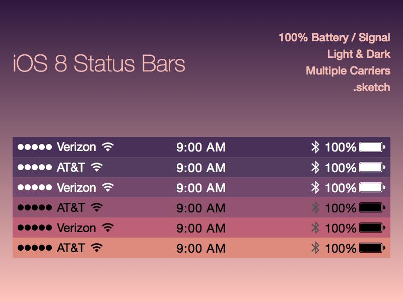 iOS 8 Status Bars