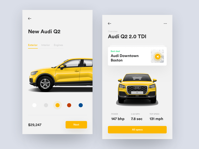 Audi Car Specs App Screens