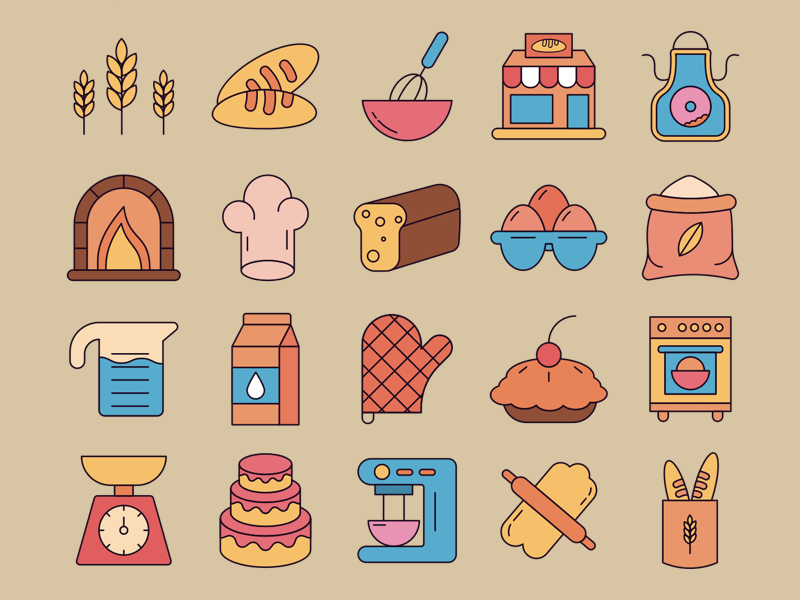20 Bakery Icon Set