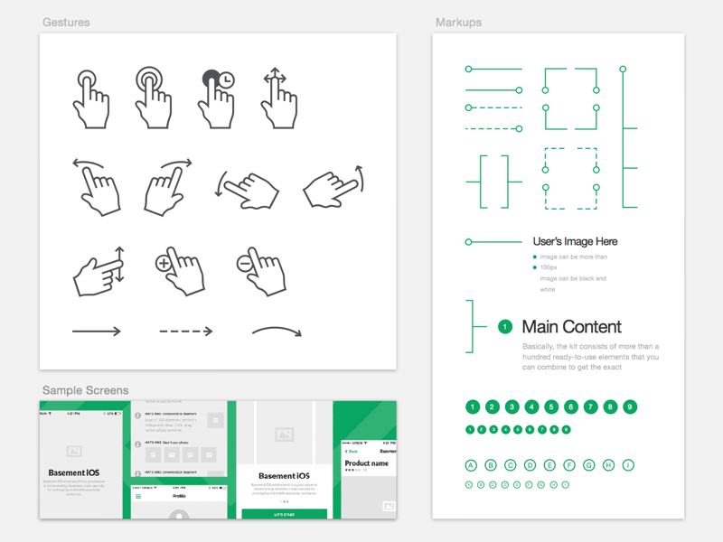 Basement iOS Wireframe Kit Sample