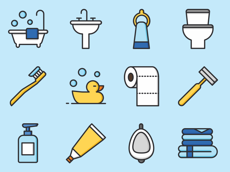 Bathroom Icon Set Sketch Freebie Download Free Resource