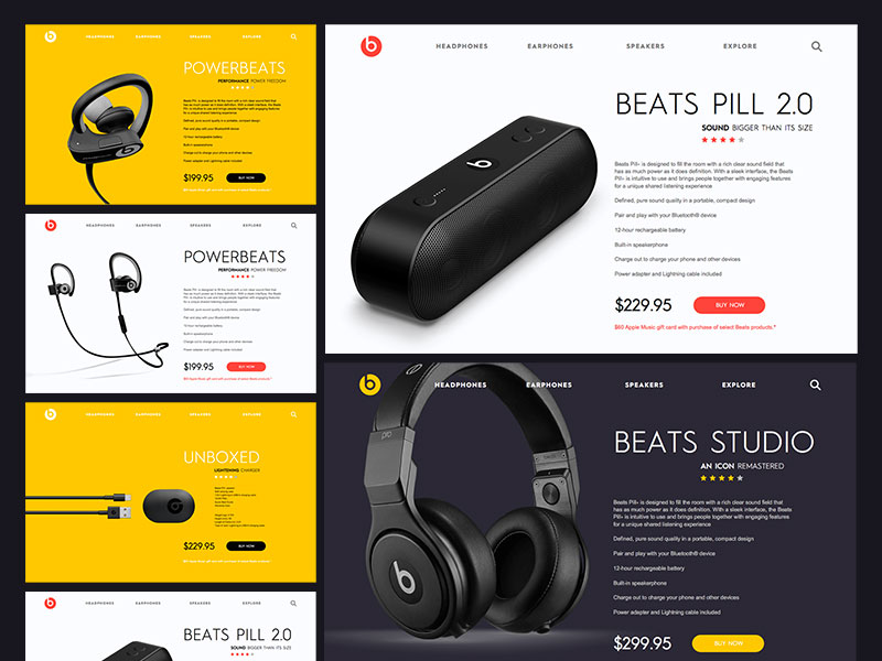 Beats - Product Pages Website Template Sketch freebie - Download