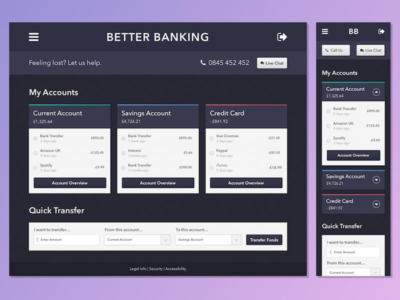 Better Banking UI Sketch freebie - Download free resource