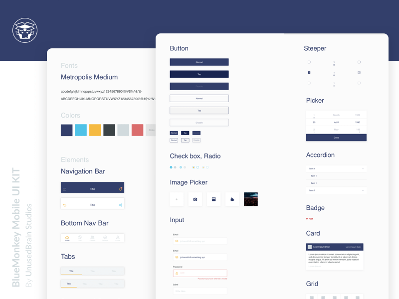 Blue Monkey Mobile UI Kit