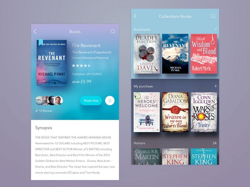 Book Store App Concept Sketch freebie - Download free