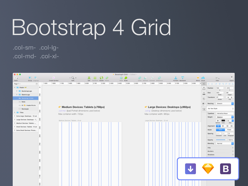 Bootstrap 4 Grid Design Template Sketch freebie - Download