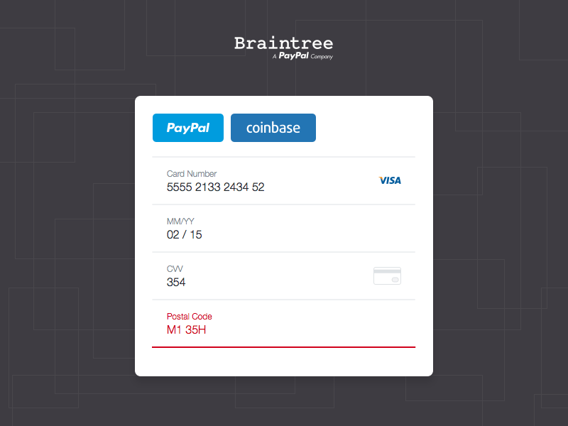 Braintree Drop-In UI Form
