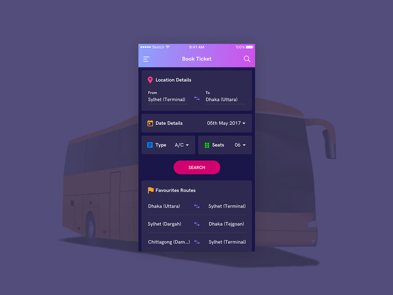 Bus Booking Screen