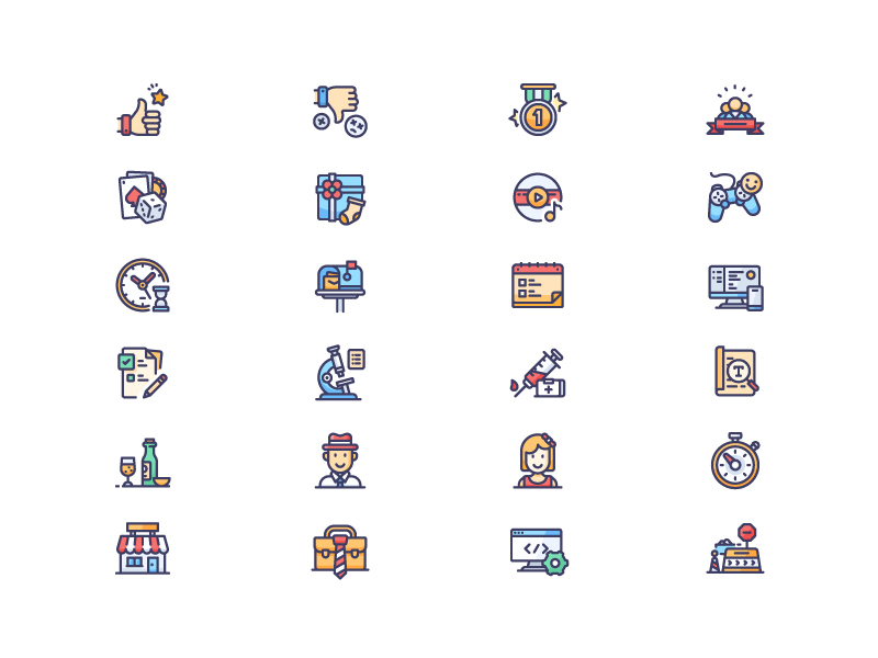 Business Icons - Filled and Outline