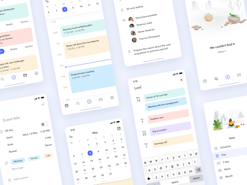 iOS Calendar App UI Kit
