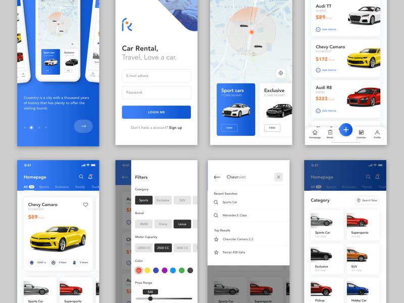 Car Rental Service App Sketch Freebie Download Free Resource For