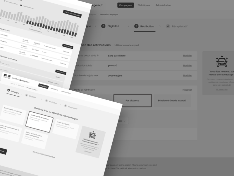 Wireframes for Carpooling Service in France
