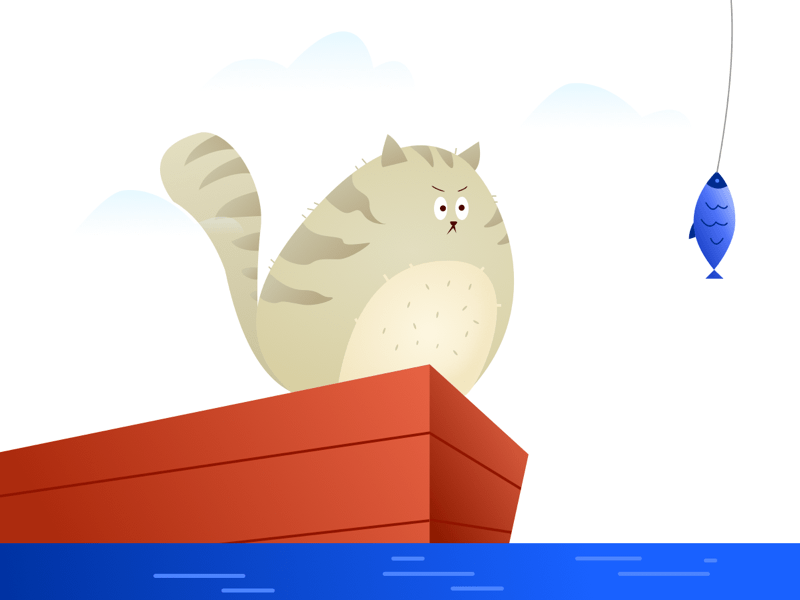 Cat and Fish Illustration