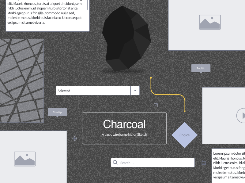 Charcoal Basic Wireframe Kit